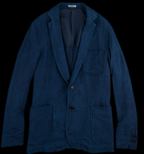 BLUE BLUE JAPAN - Linen Herringbone Two Button Jacket in Indigo.png