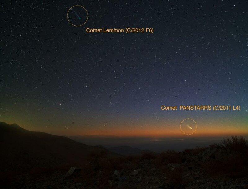 Комета Comet PANSTARRS C 2011 L4 Lemmon C 2012 F6 2013 Юрий Белетский обсерватория Лас Кампанас Атакама Чили Las Campanas observatory Atacama Chile