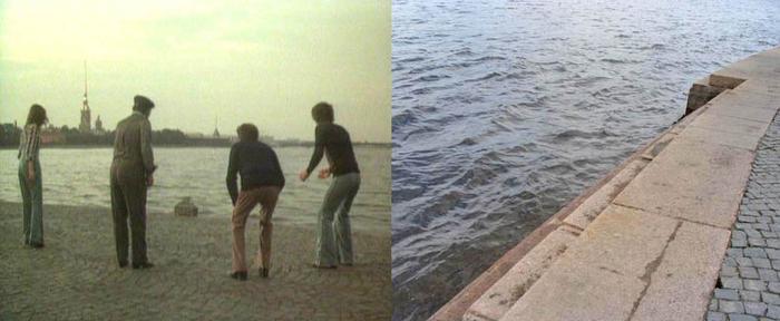 83. Андрей выплывает на берег, на ступеньки Стрелки Васильевского острова.