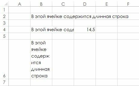 Рис. 64.1. Примеры длинного текста в ячейках