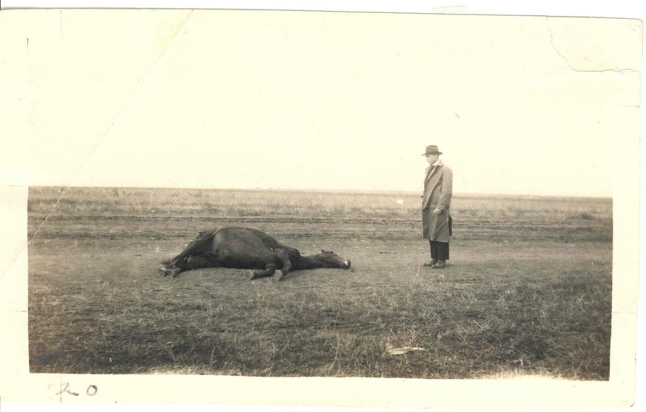 Клэйтон Кранц возле дохлой лошади