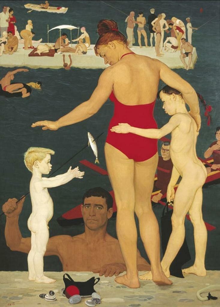 «У моря. Семья», 1964 год, (автопортрет) Жилинский Дмитрий Дмитриевич (1927-)