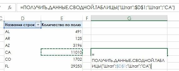 Рис. 170.1. Формула, которая ссылается на ячейку в сводной таблице, может стать составной