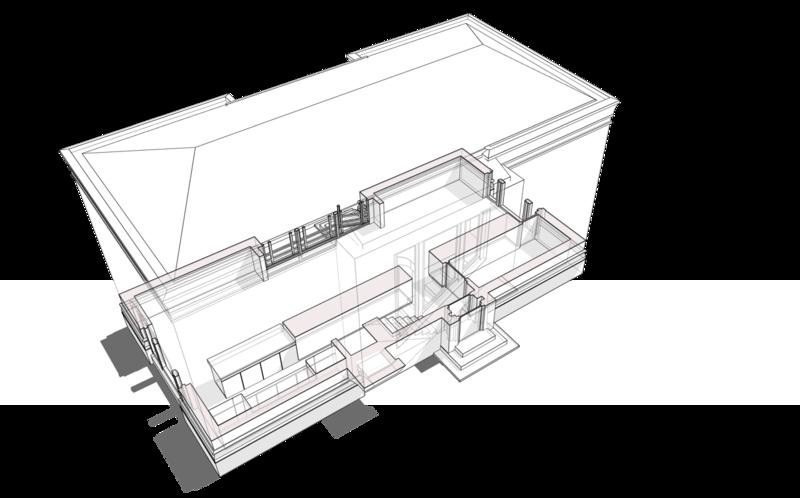 План первого этажа с расстановкой технического оборудования, системы отопления, кухни, помещений гостиной, столовой, каминной, спальни гостей, уборной, шкафов для хранения домашней утвари, планировочная структура первого этажа организована без дополнительных перегородок. Проект жилого дома на одну семью, с площадью застройки по фундаменту 68 квадратных метров.