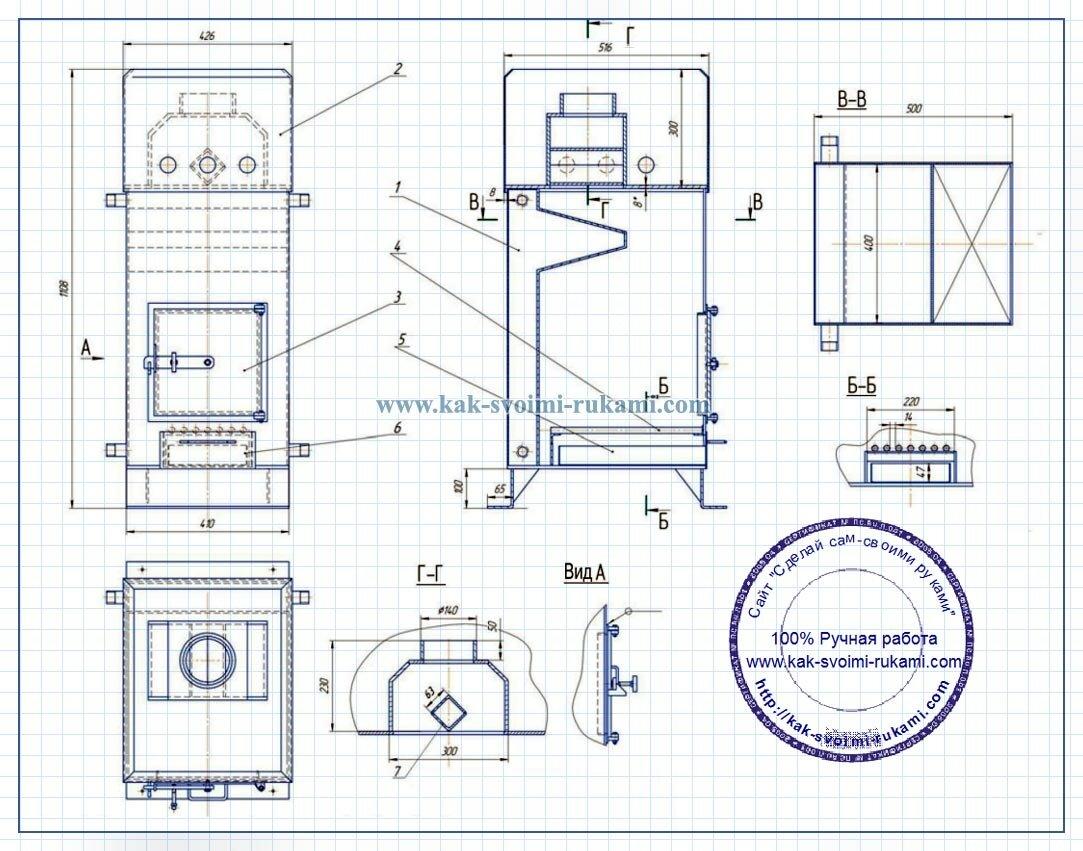 чертежи банной печки