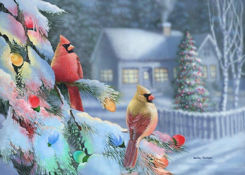 Новогодние птички открытки, детей
