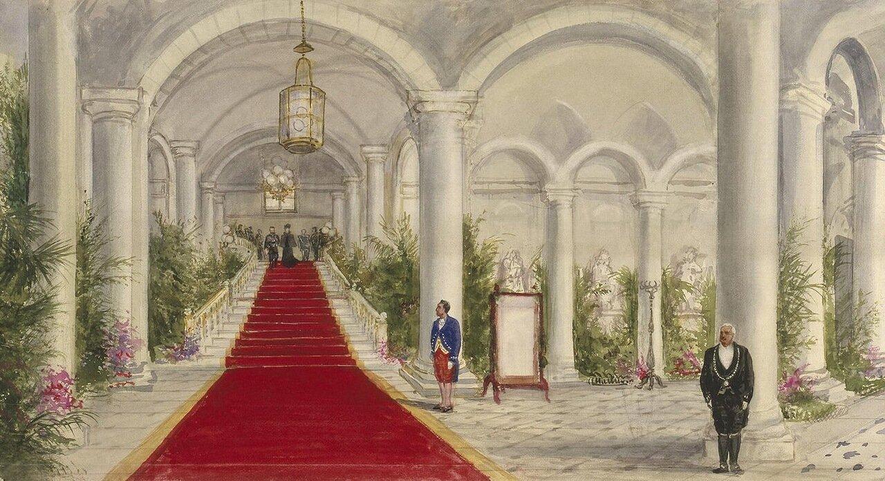 Императорская чета на Главной лестнице замка Компьен