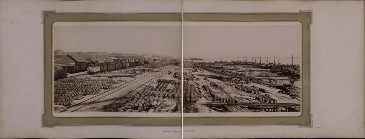 Царицын. Рыбная пристань на Волге . Ателье «Шерер и Набгольц».— 1886 г.