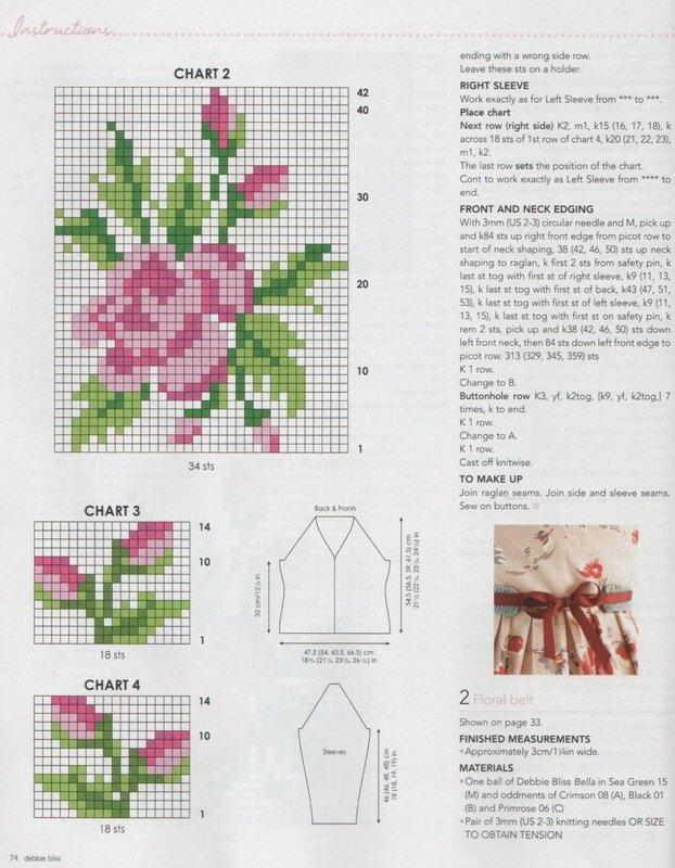 Рисунок для вязания розы спицами