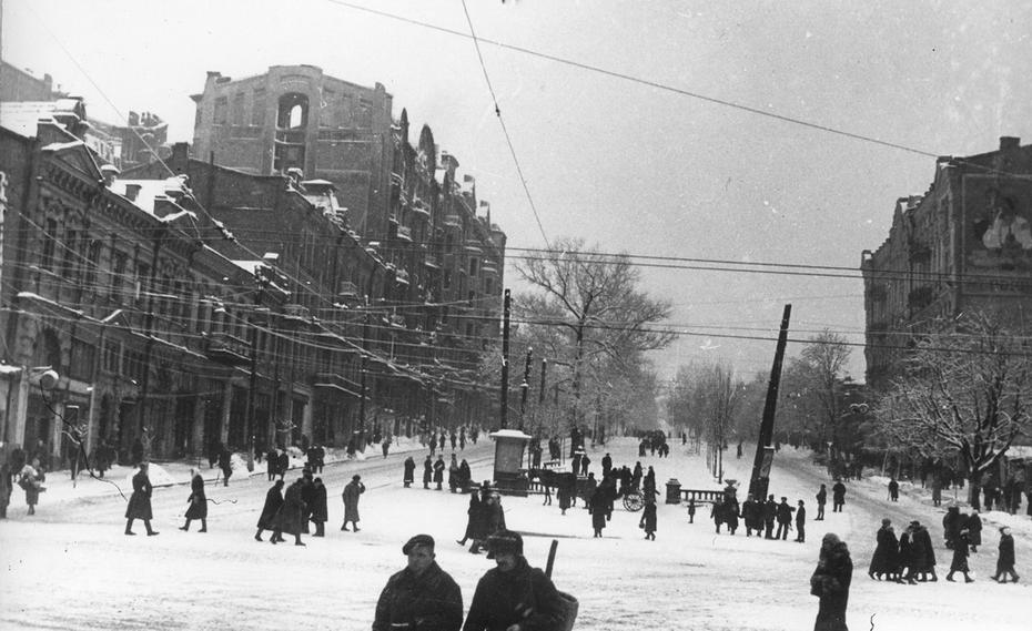 1945. Перспектива бульвара Шевченко от Бессарабской площади