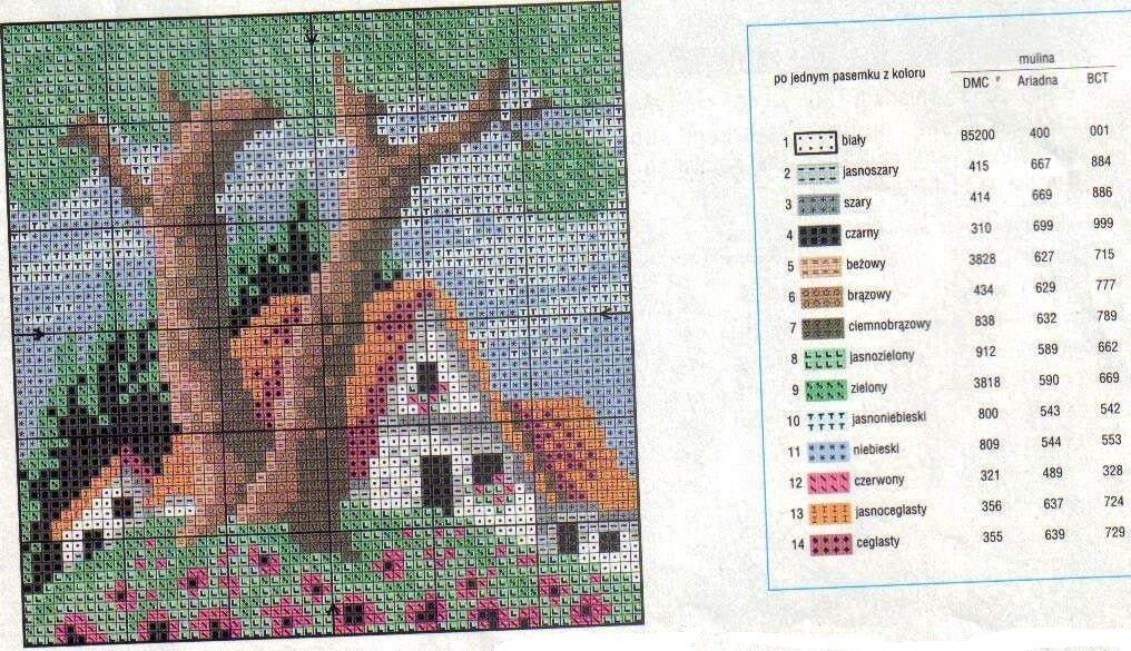 Вышивка пейзаж схема маленькая