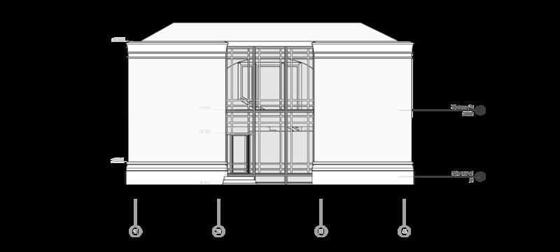Кирпичный жилой двухэтажный дом с эркером и балконом.  Проект коттеджа на одну семью, 130 кв.м Elevation, north