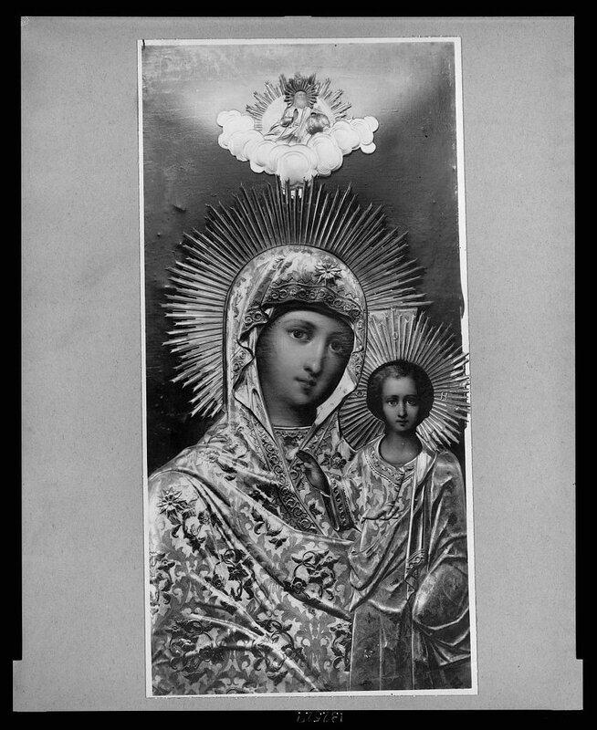 """Painting of madonna and child called """"The Lady of Kazan"""" in Russian cathedral"""