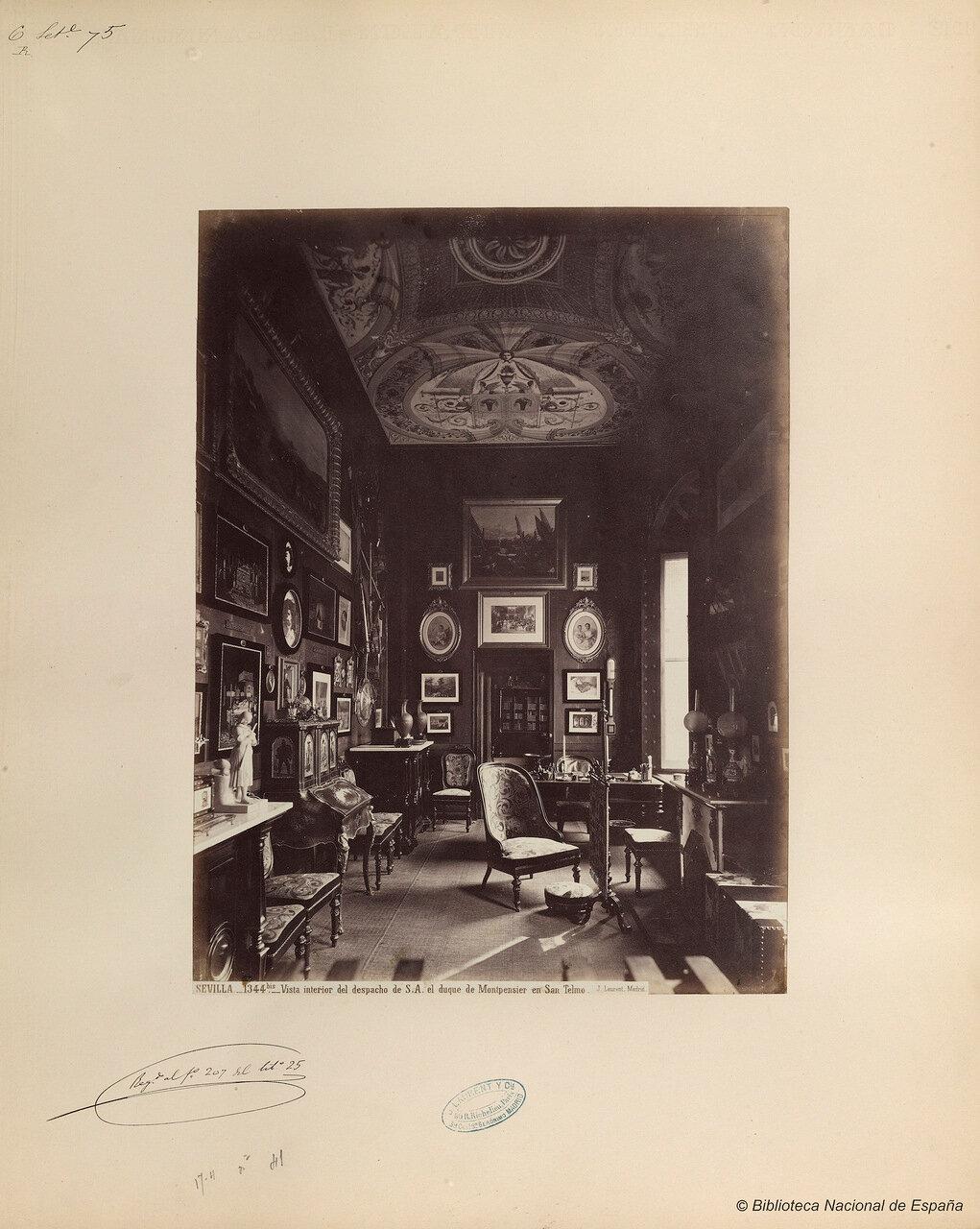 Внутренний вид кабинета герцога Монпансье во дворце Сан-Тельмо. Севилья