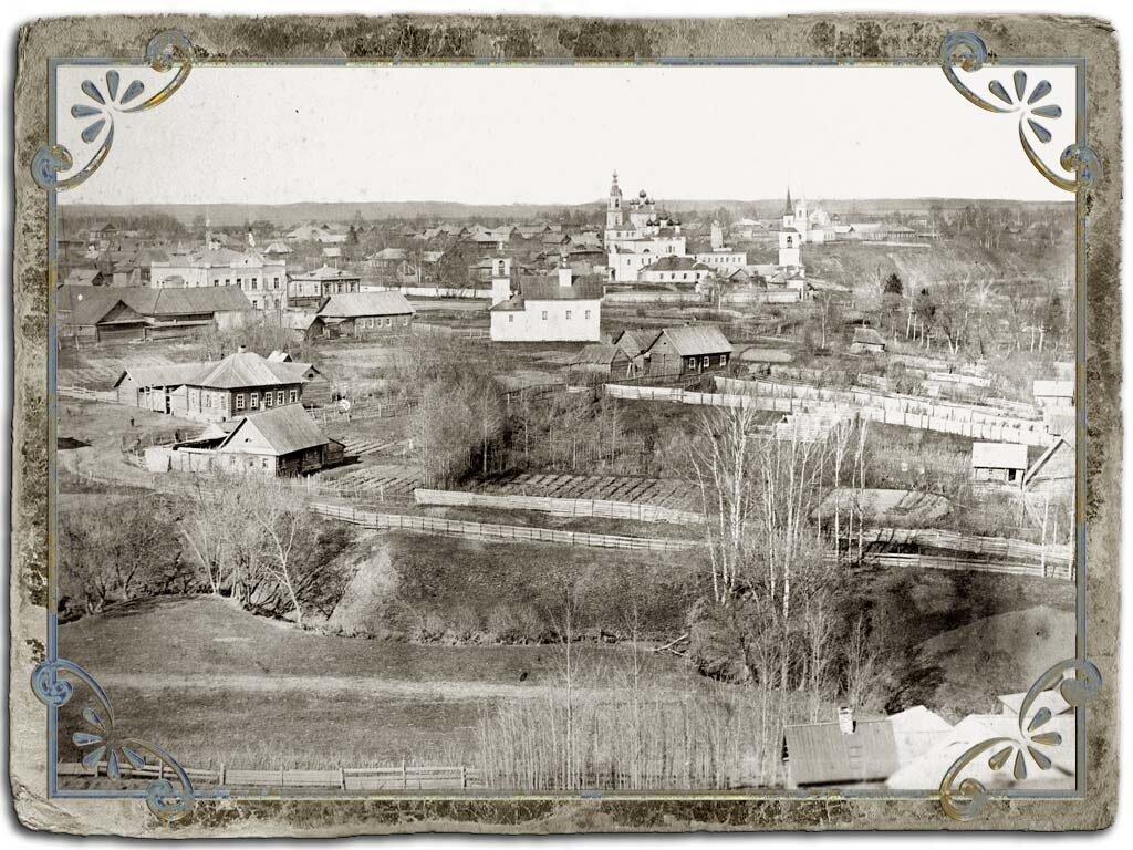 Вид с колокольни Крестознаменской церкви на СЗ часть города, 1880 год,
