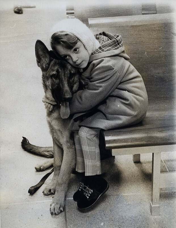 5-year old Bonni Gelman and her German Shepherd, Wolf, await examination at the newly opened Animal Medical Center