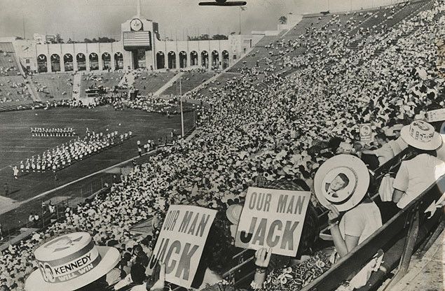 In California crowds in the Los Angeles Coliseum watch the closing ceremonies of the 1960 Democratic National Convention