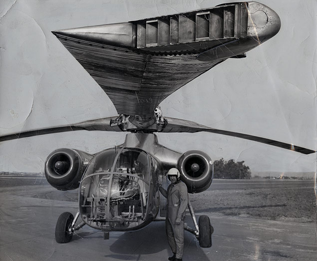 Test Pilot Bob Ferry with new U.S. Air Force Hughes experimental XV-9A helicopter