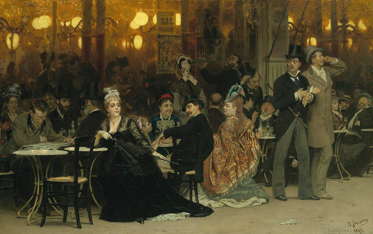 Парижское кафе, 1875, Репин Илья Ефимович (1844-1930)