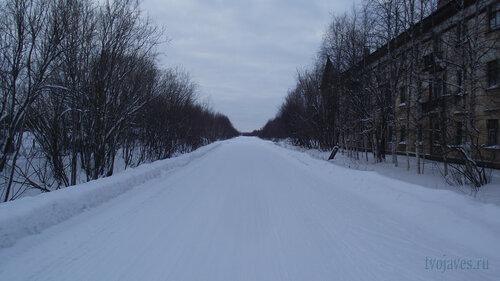Фотография Инты №2838  Улица Коммунистическая в западном направлении в районе дома Коммунистическая 18 31.01.2013_13:34