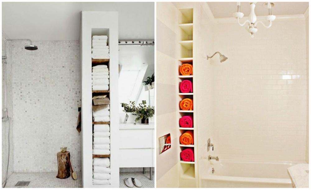 Если ввашей ванной есть свободная ниша, ееможно использовать под полки. Для хранения полотенец, на