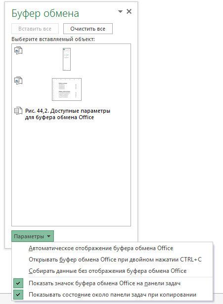 Рис. 44.2. Доступные параметры для буфера обмена Office