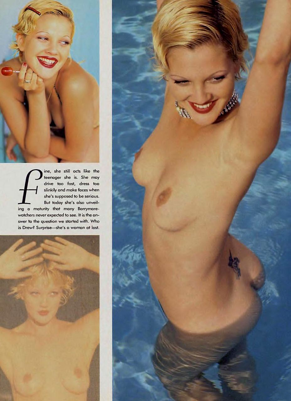 Drew Barrymore / Дрю Бэрримор голая в Playboy USA, январь 1995 / фотограф Ellen von Unwerth