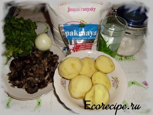 Ингредиенты для приготовления постных пирожков с картошкой и грибами