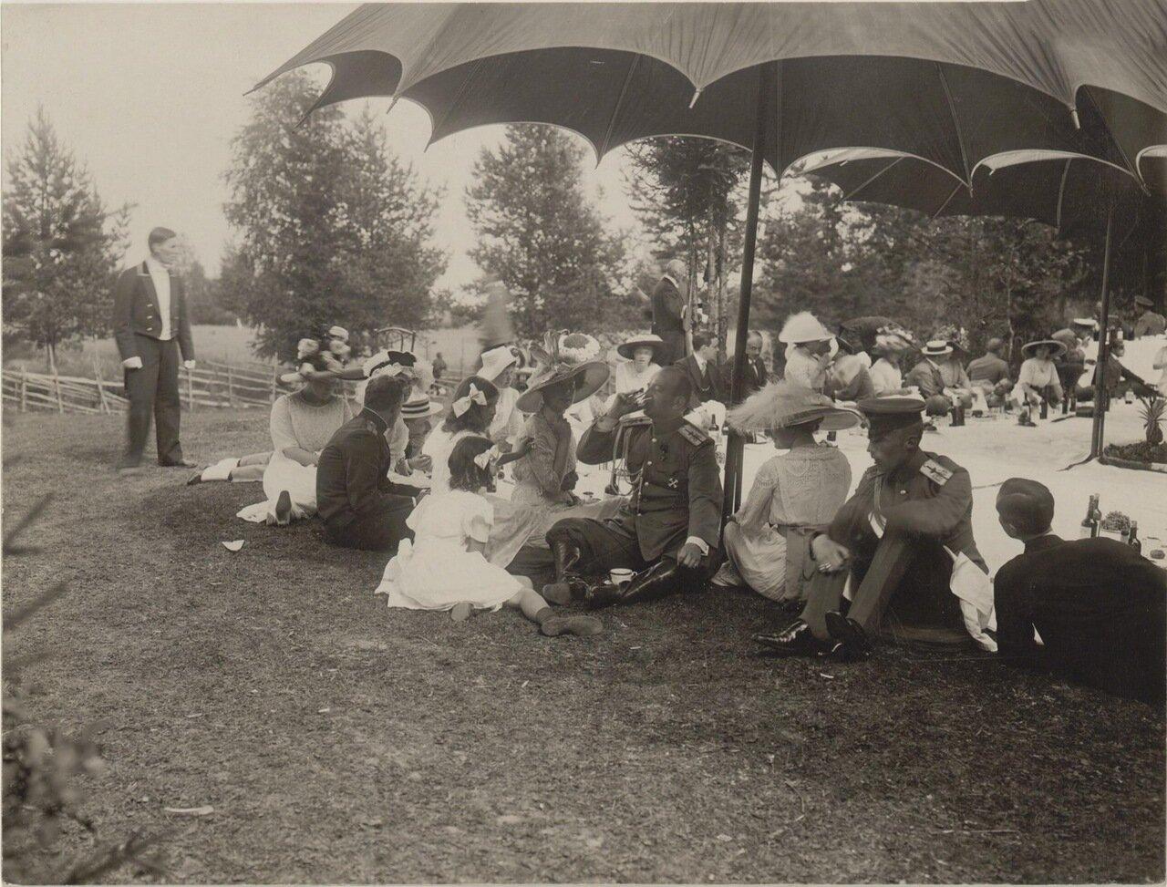 Княгиня О.К.Орлова среди участников пикника