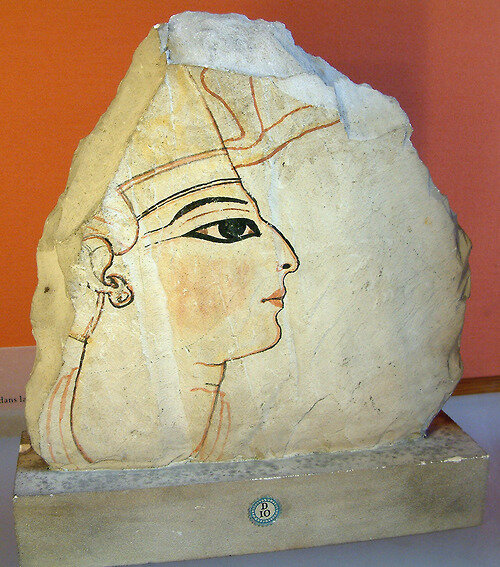 Portrait of a pharaoh, probably Rameses VI. Painted shard of limestone, 1143–1136 BC (20th Dynasty)