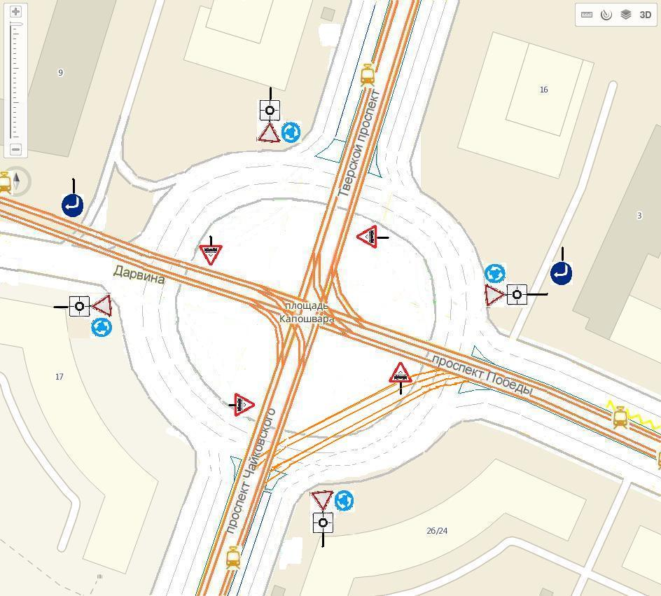 """При движении по кольцу перед пересечение с трампутями знак - 1.5  """"Пересечение с трамвайной линией """" ."""