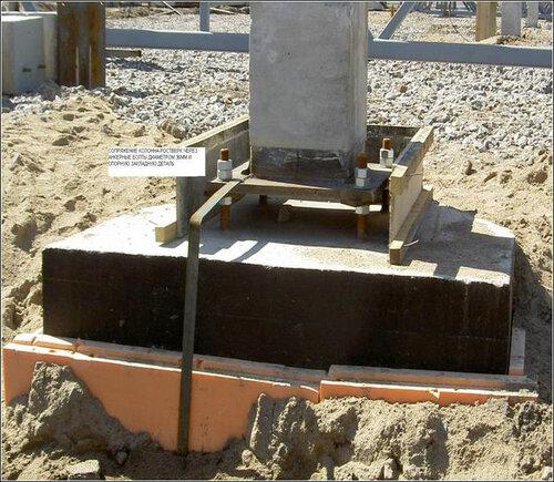 Готовая колонна на фундаменте