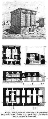 Мавзолей в Хатре (реконструкция), план, разрез