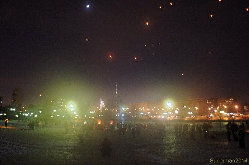 Сердечный запуск небесных фонариков