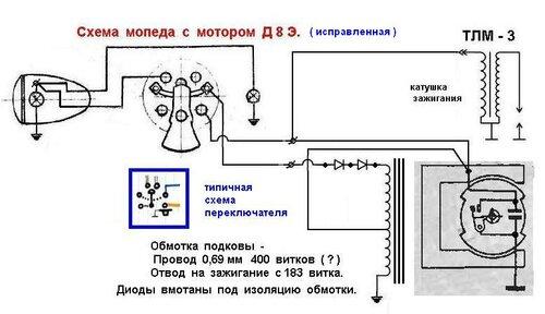 Схема мопеда с мотором Д 8 Э.