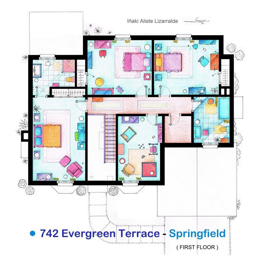 Первый этаж дома Симпсонов из одноименного мультсериала «Симпсоны»