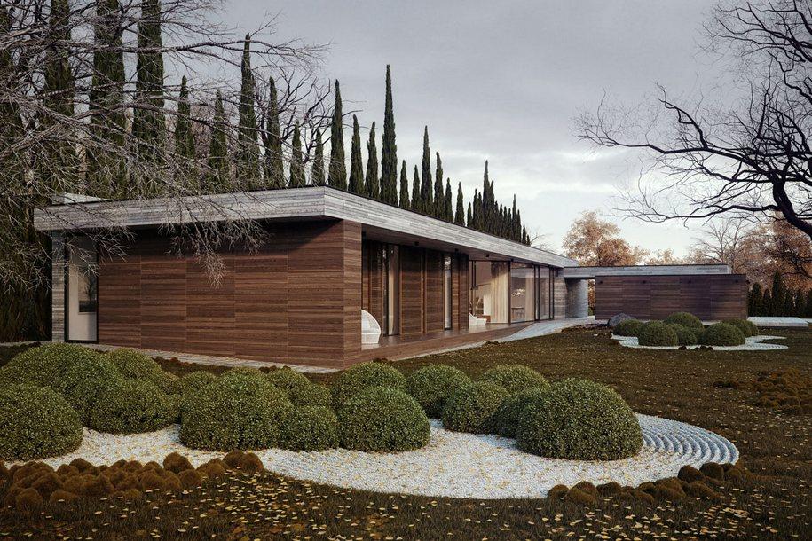 Японский садик во дворе частного дома