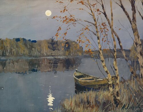 Андрей Афанасьевич Егоров (1878, Арукюле, близ Ревеля – 1954, Таллин). Луна над озером. 1910-е. Бумага, гуашь.