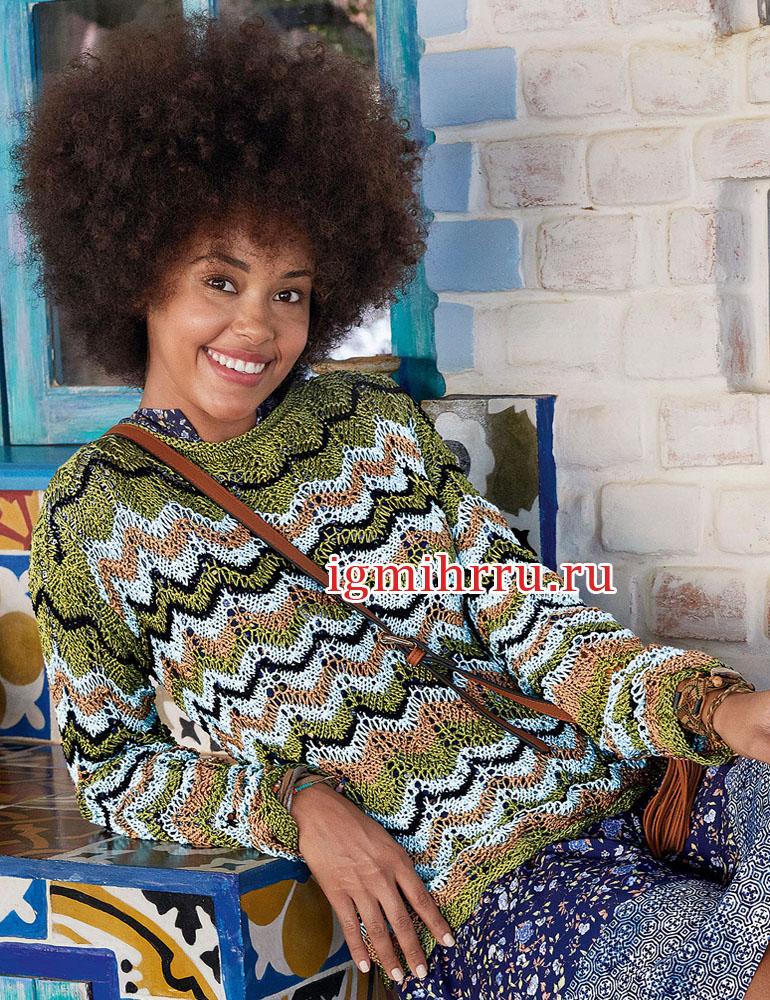 Полосатый пуловер с зигзагообразным узором. Вязание спицами
