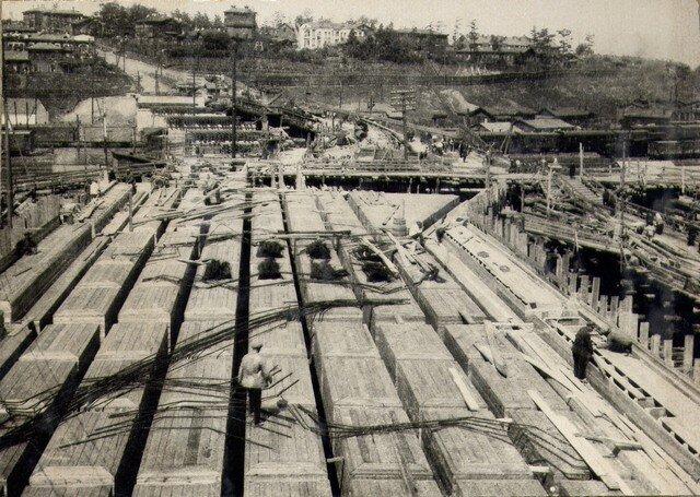 Перед началом армирования пролетных строений левобережной эстакады. Июль 1936г.