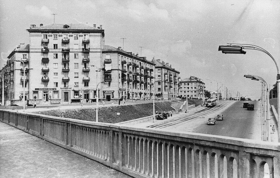 1960.06. Брест-Литовский проспект в районе железнодорожного пересечения