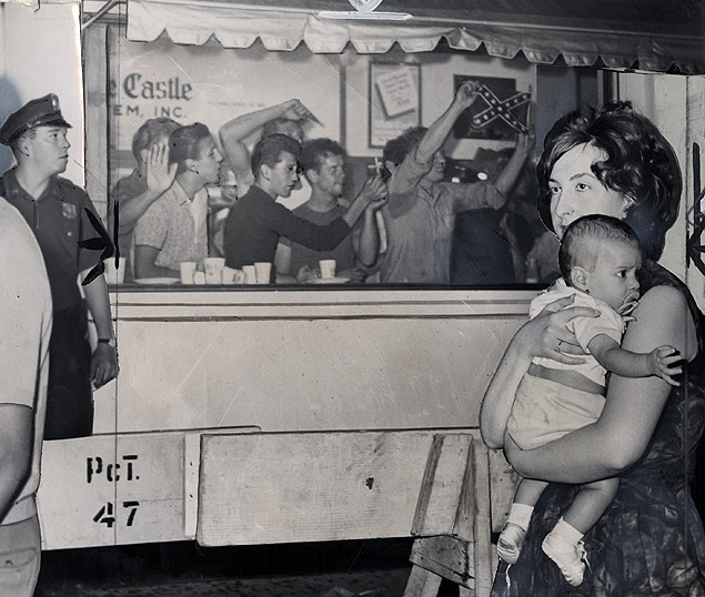 Segregationists and CORE integrationist demonstrators at the picketing of a White Castle diner in the Bronx