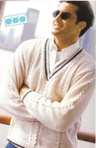Пуловер мужской связать с образным вырезом