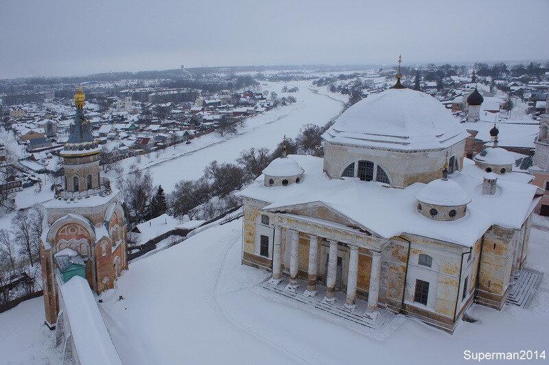 Торжок, вид с колокольни на Борисоглебский монастырь