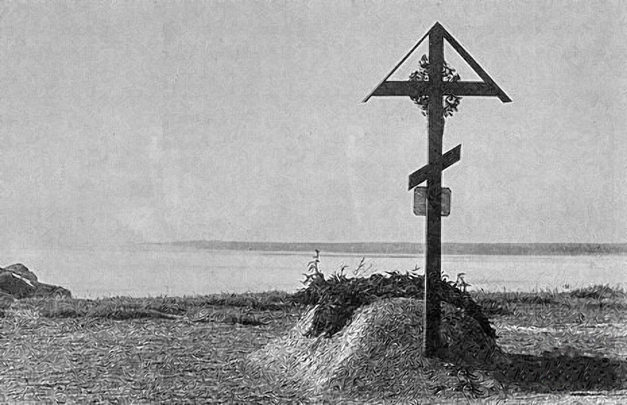 Могила Пржевальского на берегу Каракольского залива Пржевальск. 1890 год