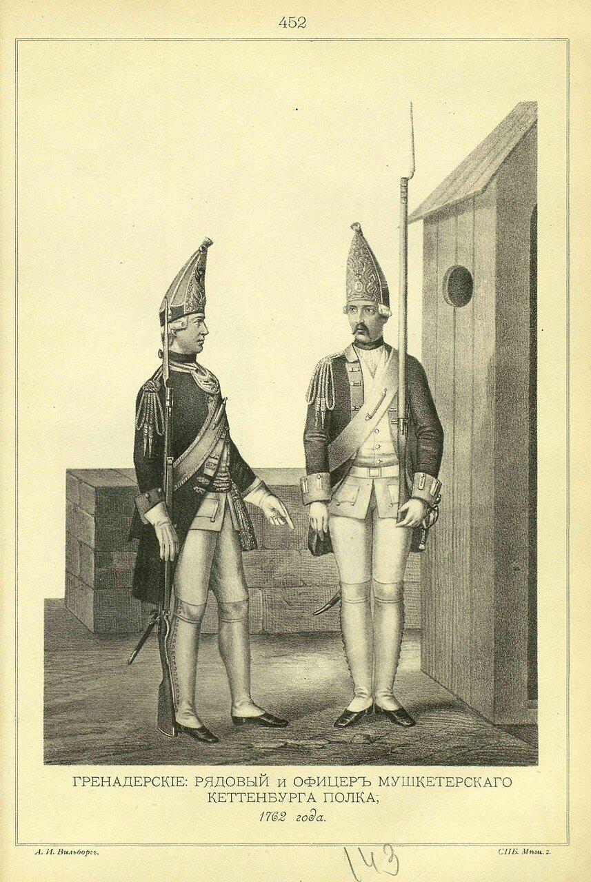 452. Гренадерские: РЯДОВОЙ и ОФИЦЕР Мушкетерского Кеттенбурга полка, 1762 года
