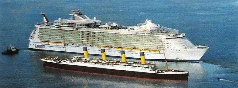 """""""Titanic"""" on a background of modern superliner ~ what a ... Oasis Of The Seas Comparison"""