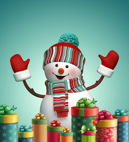 3d happy snowman and christmas gift boxes illustration