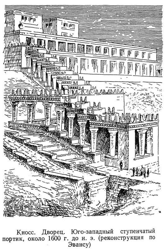 Кносский дворец, юго-западный ступенчатый портик, реконструкция