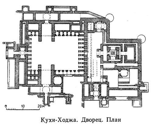 Дворец в Кухи-Ходжа на озере Хамун, план